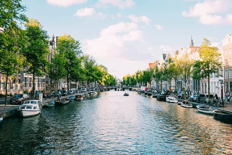 A beautiful river view at Amsterdam, Netherlands