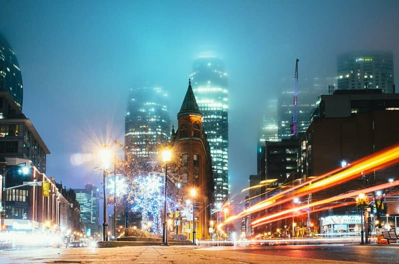 Nigh view of the Toronto, Canada